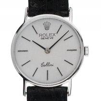 Rolex Cellini Lady 18kt Weißgold Handaufzug Armband Leder 24mm...