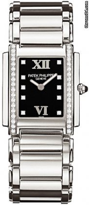 Patek Philippe 4910/10A LADIES&amp;#39; TWENTY-4 STAINLESS STEEL BLACK DIAMOND DIAL