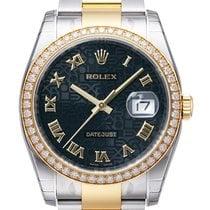 Rolex Datejust 36 Edelstahl Gelbgold Diamant Lünette 116243...