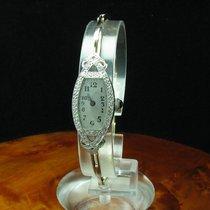 Art Deco 18kt 750 Gold Handaufzug Damenuhr Mit 0,20ct Diamant...