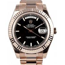 Rolex Day-Date II 218235-BLKSFP 41mm Black Index Fluted Rose...
