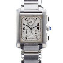 Cartier Tank Francaise Mid-Size Stainless Steel Chronoflex...