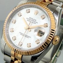Rolex Datejust 116231 Steel Pink Gold Jubilee White Mother Of...