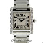 Cartier Tank Francaise Large Stainless Steel Diamond 1ctw...