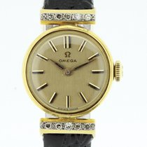 Omega Vintage Ladies Watch solid 18K Yellow Gold with Diamonds...