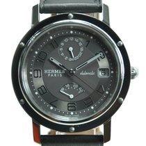Hermès Watch Cl2810230vbn Grey Dial Black Leather Strap
