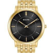 Bulova Mens Thin Classic - Gold-Tone - Bracelet - Black Dial -...