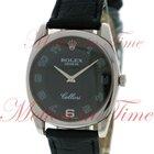 Rolex Cellini Danaos Men's, Black Dial - White Gold on Strap