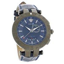 Versace V-Race Series Mens Blue Dial Swiss Quartz Watch...