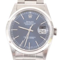 Rolex Mens SS Datejust - Blue Stick Dial/Oyster Band - 16200