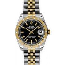 Rolex Datejust Ladies Midsize 178343-BLKSJ Black Index Yellow...