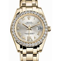 Rolex Pearlmaster 34 81298 Silver Diamond Bezel Yellow Gold