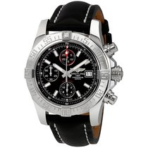 Breitling Avenger II Automatic Black Leather Mens Watch...
