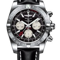 Breitling Chronomat 44 GMT Chronograph Black Dial Leather...