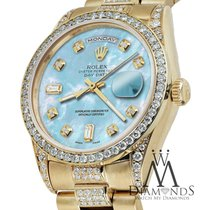 Rolex Presidential 36mm Day Date Baby Blue Dial Diamond Watch...