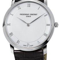 Frederique Constant Slimline Steel Mens Strap Watch Silver...