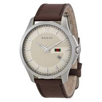 Gucci G-Timeless Ivory Dial Brown Leather Strap Mens Watch...