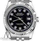 Rolex Ladies Rolex 31mm Datejust Black Color String Diamond...