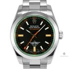 Rolex Milgauss Stainless Steel Green Crystal Black Dial Smooth...