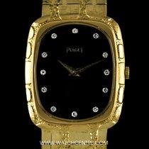 Piaget 18k Yellow Gold Onyx Diamond Dial Vintage 9251 A80