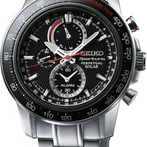 Seiko Perpetual Solar Alarm Herrenchronograph Farbe Silber...