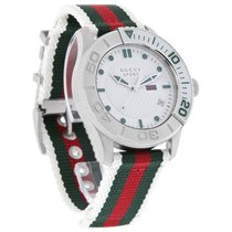 Gucci Mens Sport White Dial Red Green Fabric Strap Swiss...