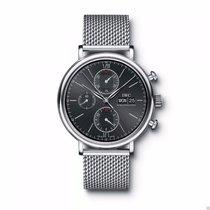 IWC IW391010 Portofino Chronograph SS MESH Bracelet Black Dial