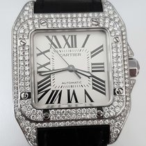 Cartier Santos 100 Midsize Steel Diamonds 45 x 35 mm (Full Set)