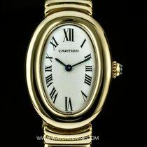 Cartier 18k Y/G Silver Dial Baignoire Ladies Wristwatch B&P