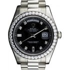 Rolex Day-Date II 218349-BLKDDP 41mm Black Diamond Bezel White...