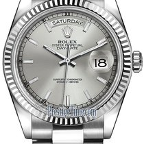 Rolex Day-Date 36mm White Gold Fluted Bezel 118239 Silver...