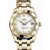 Rolex Pearlmaster 34 81318 White Roman Yellow Gold Bezel Set...
