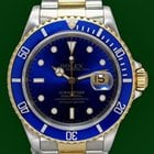 Rolex Submariner Date 16613 Gold Steel Blue Dial Box&am...