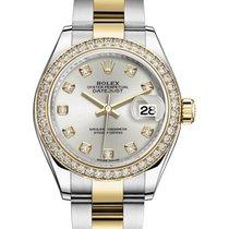 Rolex Lady-Datejust 28 279383RBR Silver Diamond Bezel Yellow...