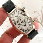 Cartier Tonneau Dual Time 18K White Gold Manual Wind men watch