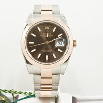 Rolex 41mm Steel & Rose Gold Datejust 126301 Chocolate Dial