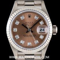 Rolex 18k White Gold Pink Diamond Dial Datejust Ladies B&P...
