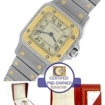 Cartier Santos Galbee Two Tone Gold Ivory 23mm Quartz Watch...