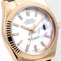 Rolex 18K Gold 36mm Datejust White Dial Brown Leather 116138...
