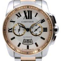 Cartier W7100042 Calibre De Cartier Chronograph 42mm Pink Gold...