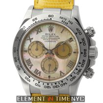 Rolex Daytona Yellow Beach Special 18k White Gold Mother Of...