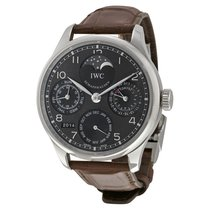 IWC Portuguese Automatic 18kt White Gold Brown Leather Mens...