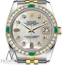 Rolex 31mm Datejust 2tone White Pearl Mop Diamond Numbers...