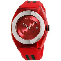Gucci Sync Red Dial Silicone Strap Unisex Watch Ya137103