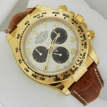 Rolex Daytona 116518 Yellow Gold on Strap Arabic Dial UNWORN