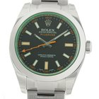 Rolex Milgauss Stainless Steel Black Dial Green Crystal 40mm...