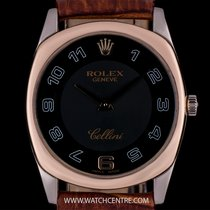 Rolex 18k White Gold & Rose Gold Black Dial Cellini Danaos...