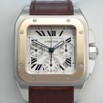 Cartier SANTOS 100 XL GROSSES MODELL STAHL GOLD 750 CHRONOGRAPH