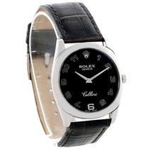 Rolex Cellini Danaos 18k White Gold Black Dial Mens Watch 4233