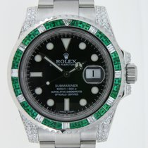 Rolex Submariner Steel Emeralds and  Diamonds Custommade